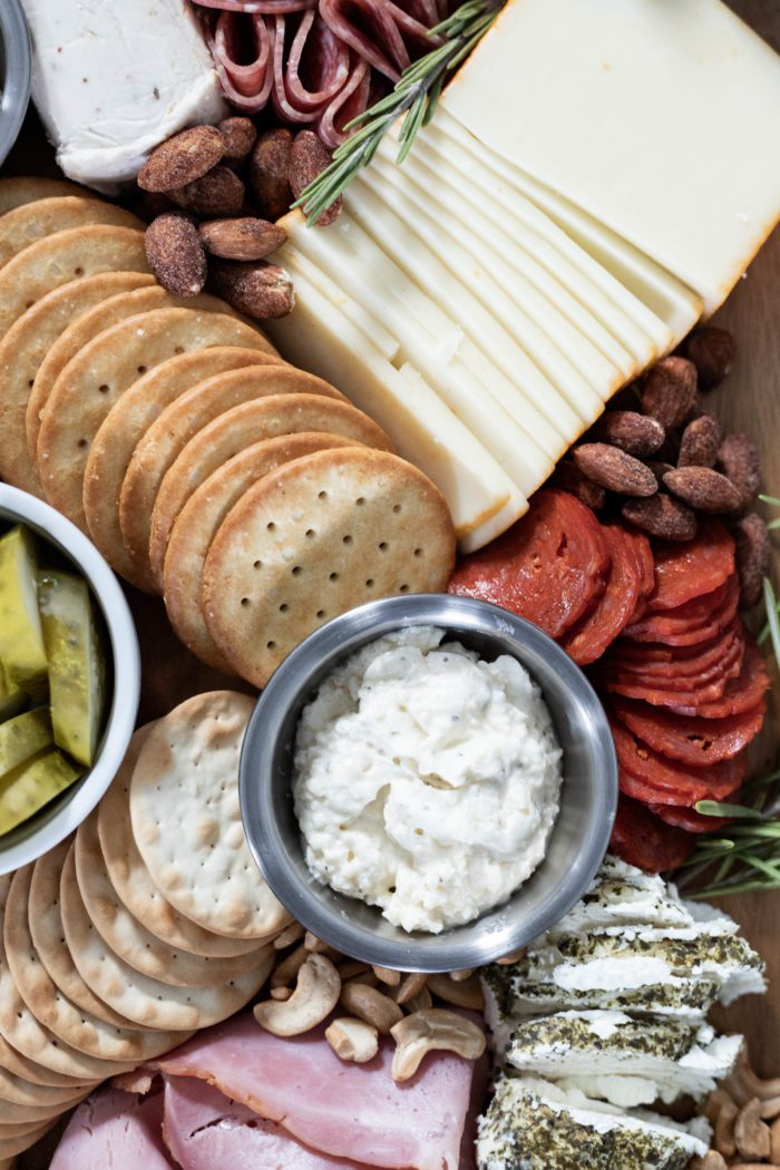 Use a variety of crackers for your holiday appetizers.