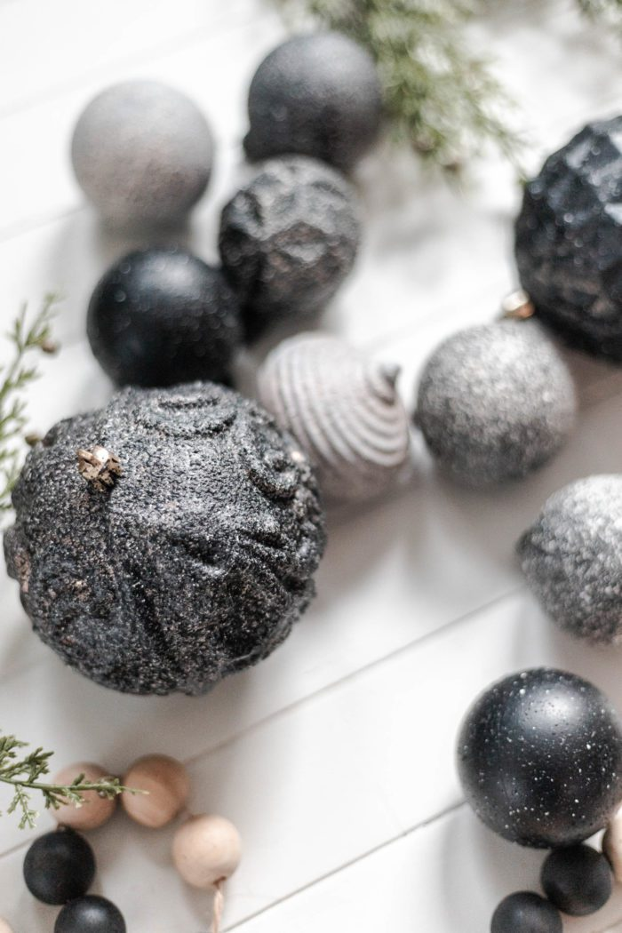 Get the tutorial to make these Easy DIY Stone Christmas Ornaments using old ornaments for a refreshed modern neutral look! #CherishedBliss #ChristmasOrnament