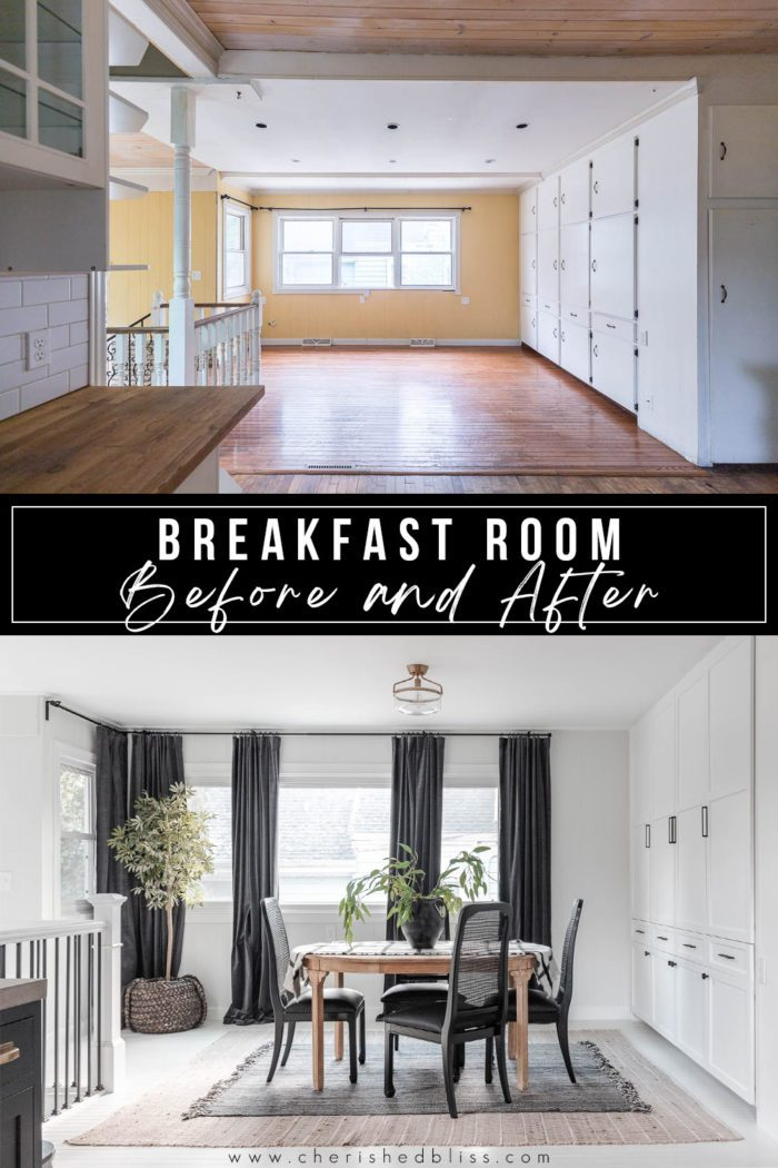 Breakfast room before and after with a little paint, new cabinet doors, and some fresh decor!
