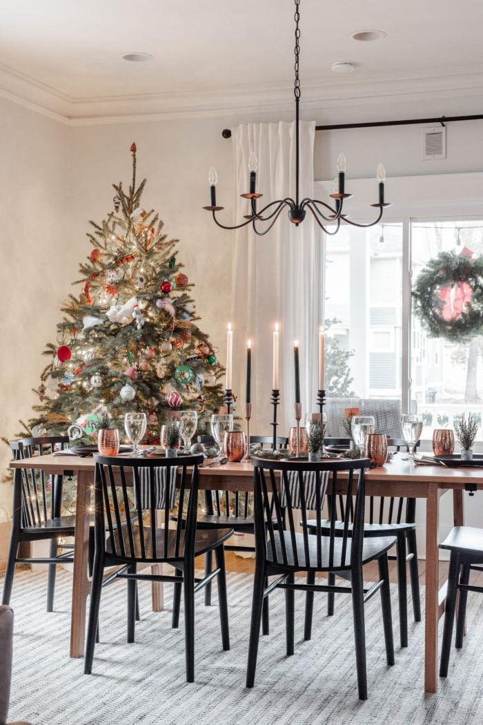 Minimalist Black & Copper Christmas Tablescape Dining Room Decor