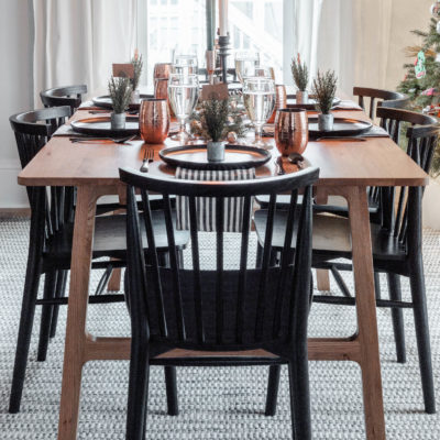 Black & Copper Modern Christmas Tablescape
