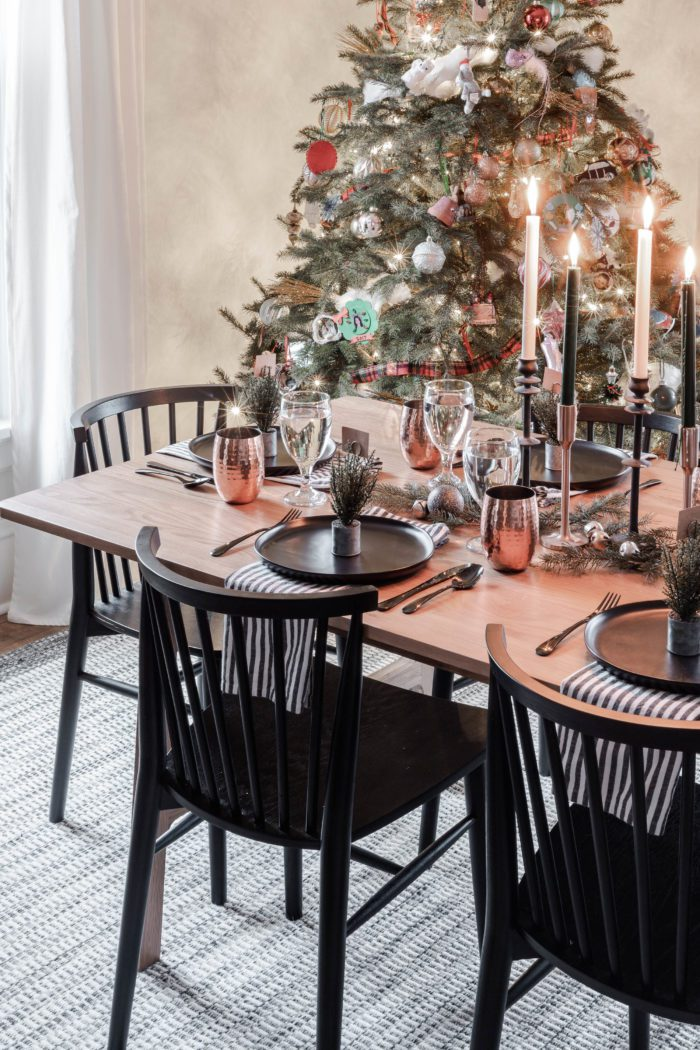 Minimalist Black & Copper Christmas Tablescape