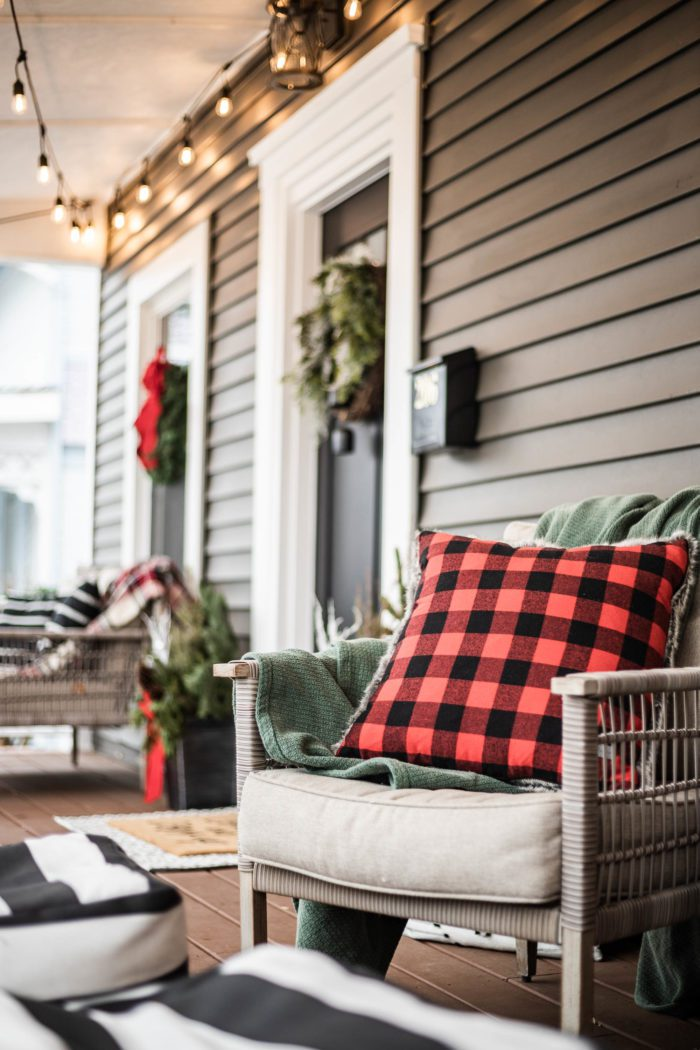 Red Buffalo Check Pillow used in front porch Christmas Decor