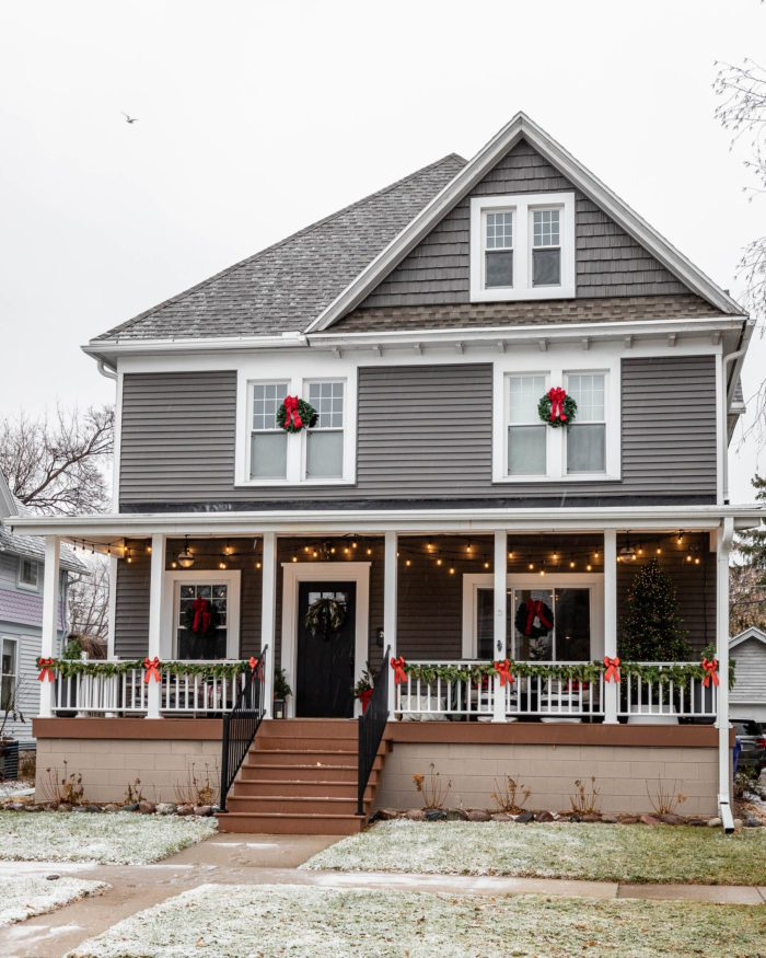 Historic Home with Outdoor Christmas Decor