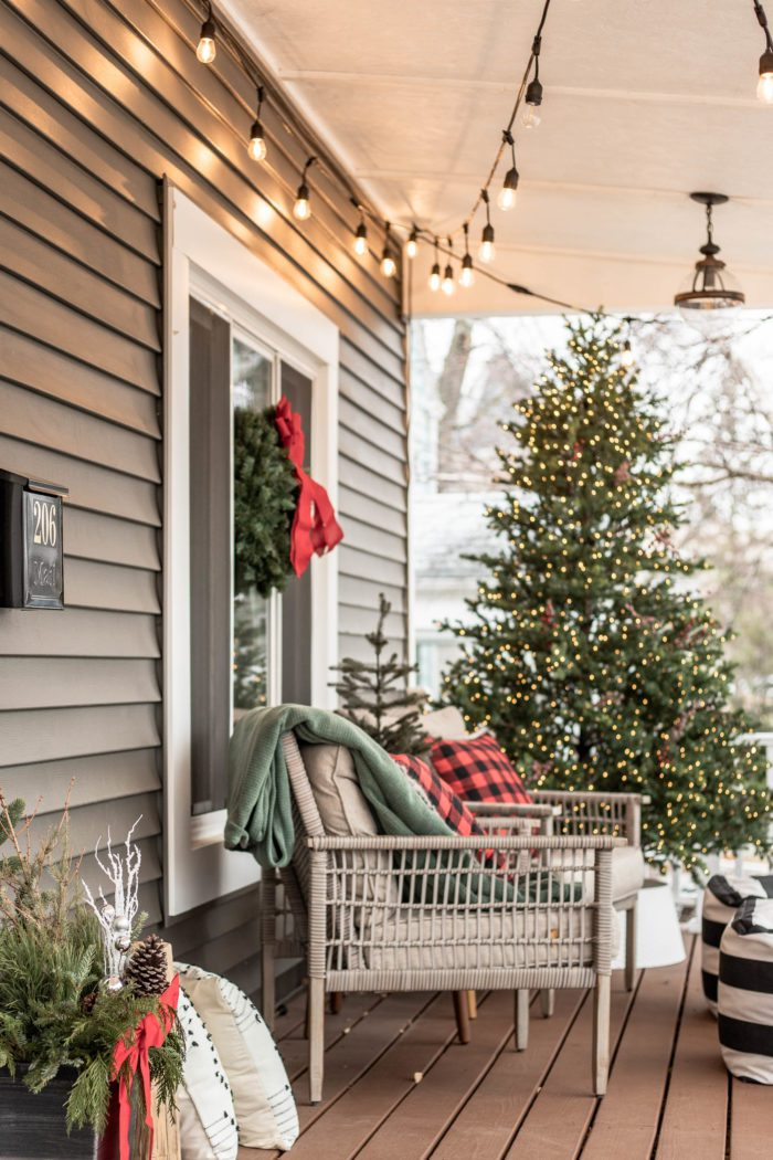Classic Christmas Decor on front porch