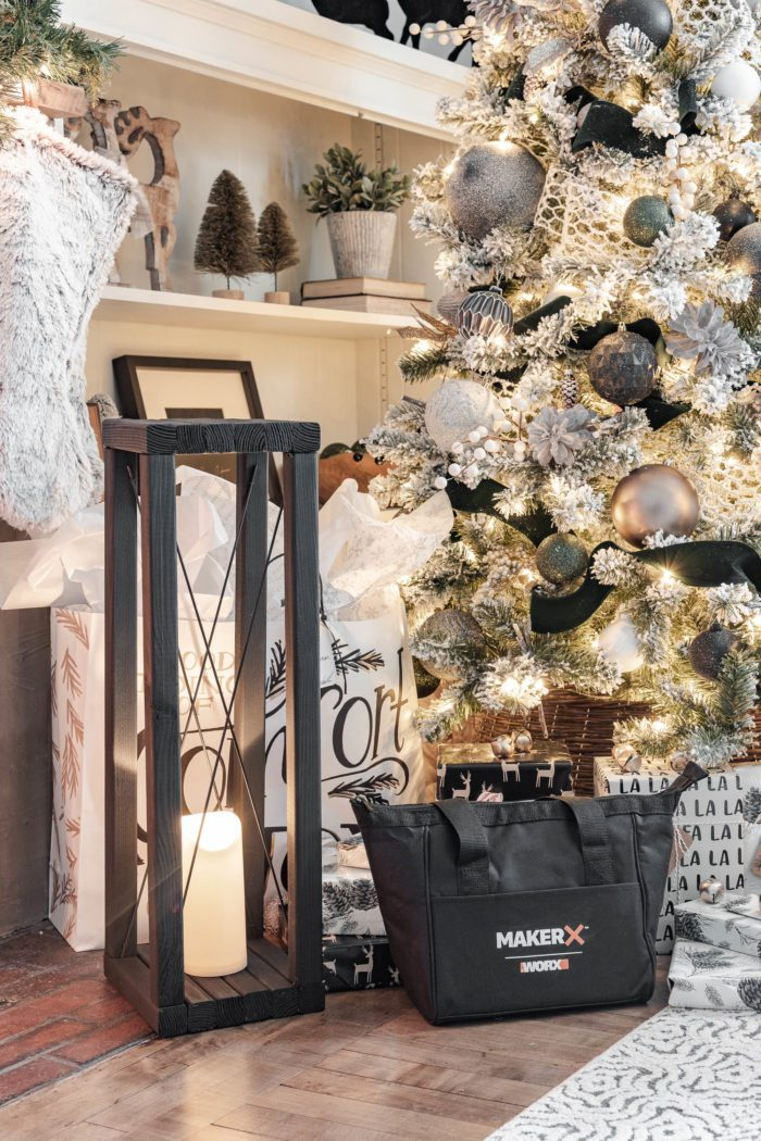 Christmas Fireplace with Large DIY Wood Lanterns on either side! The perfect way to add a little glow to your Christmas setting!