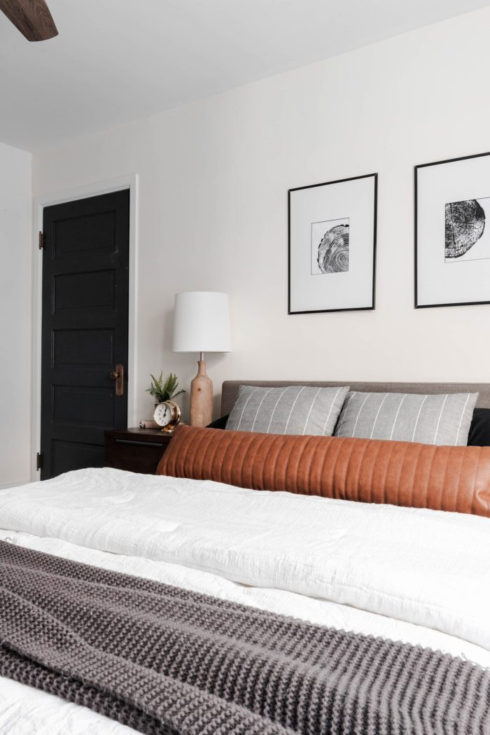 Queen size bed with a modern gray headboard, white bedding, dark gray accents and a leather lumbar pillow.