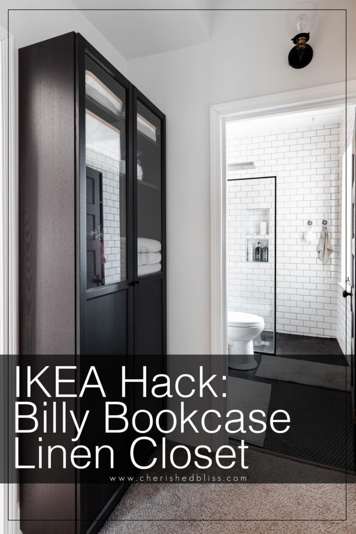 Ikea Billy Bookcase used as a linen closet for a bathroom with no storage!