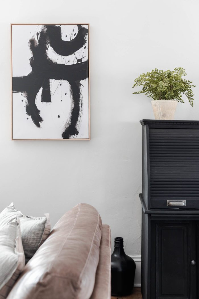 Modern Abstract art next to a fern planter - Spring Decor