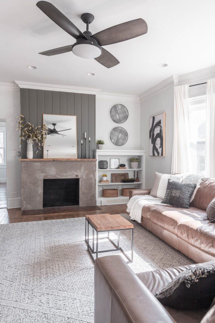 Neutral Spring Mantel Decor in a transitional living room.