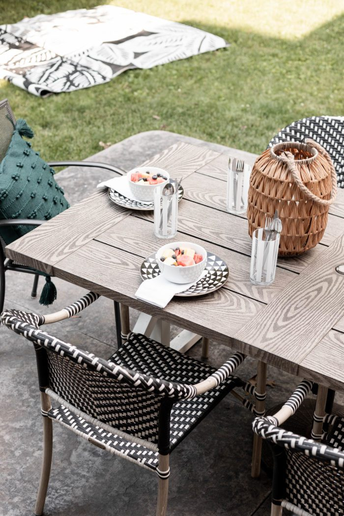 Fun patterned plates used in an outdoor summer tablescape.