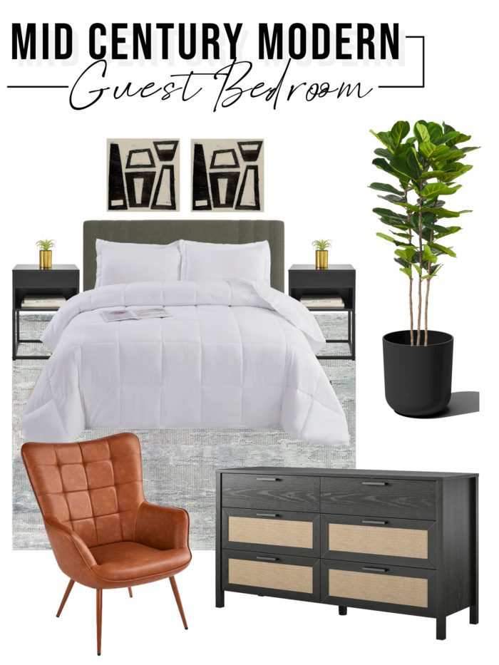 Mid Century Modern Guest Bedroom Design Board with neutral colors.