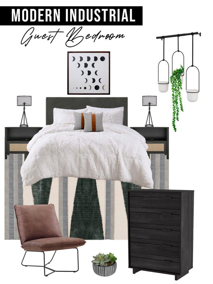 Modern Industrial Guest Bedroom Design Board with neutral colors and cozy bedding. Design Ideas for creating a welcoming guest room!