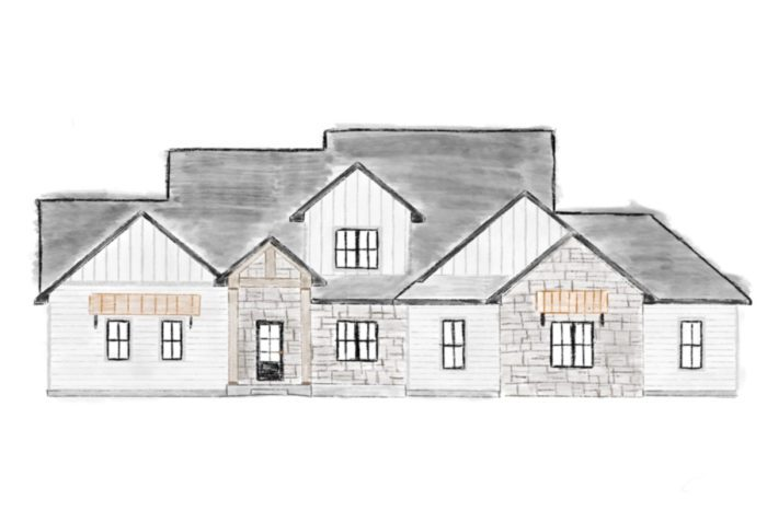 Watercolor rendering of a modern rustic home with white siding, black trim, and black windows.