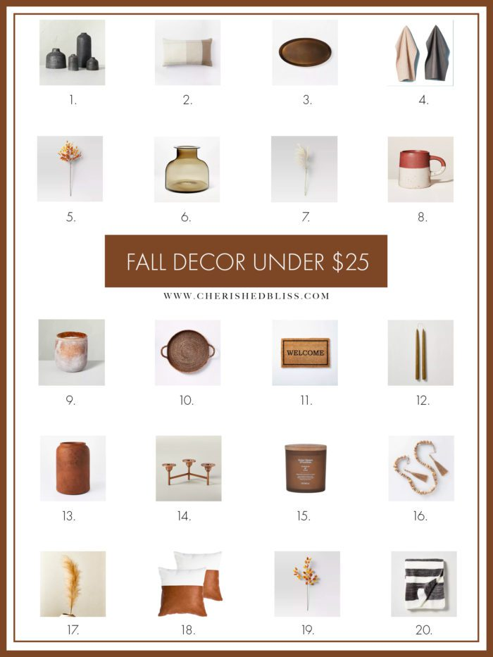 20 Fall Decor Items for under $25 to help get your home Fall-Ready