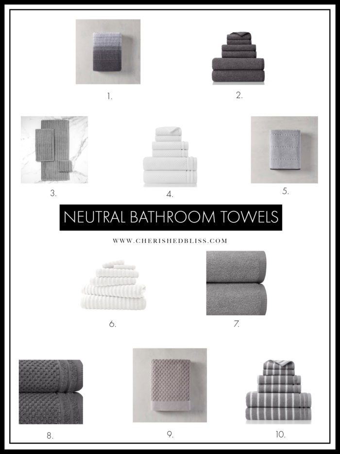 Shopping guide for neutral bathroom towels.